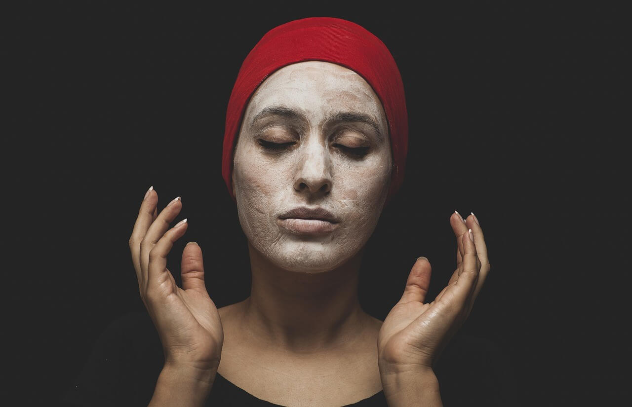 Image of a woman wearing a skin care face mask